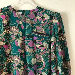 1980s Vintage Paisley Blouse with Shoulder Pads